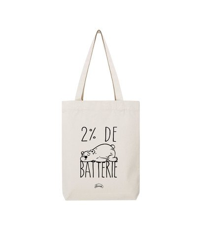 "Tote Bag ""Batterie 2%"""