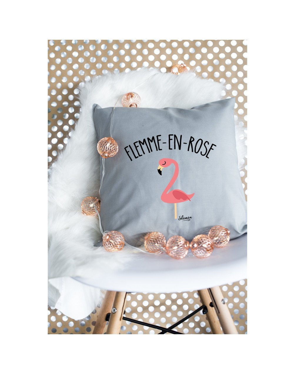 "Coussin ""flemme en rose"""
