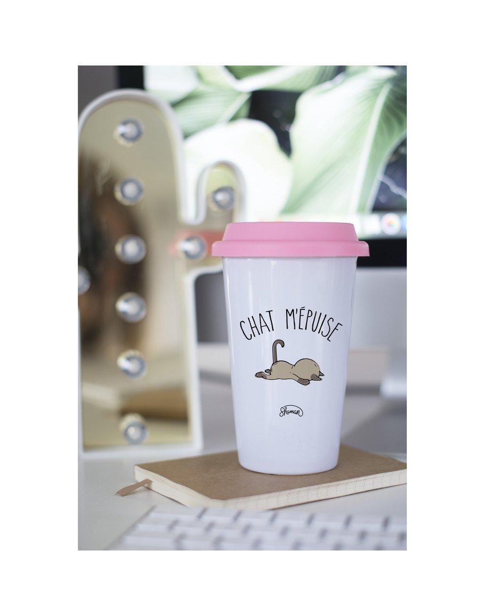 """Mugs Take Away """"Chat m'épuise"""""""