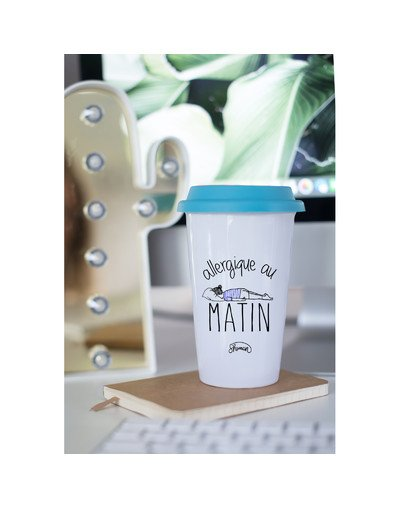 "Mugs Take Away ""Allergique au matin"""