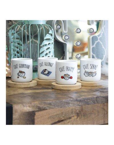 """Set de 4 mugs """"Café"""""""