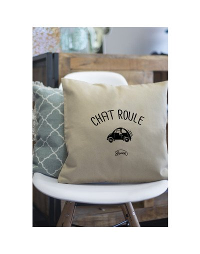 """Coussin """"Chat-roule"""""""