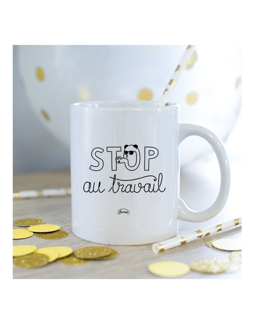 Mug Stop au travail